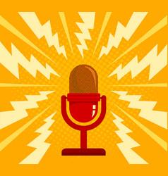 vintage red microphone vector image