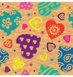 Vintage Vilentines color heart pattern vector image vector image