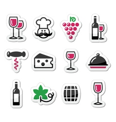 Wine labels set - glass bottle restaurant food vector image
