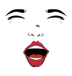 Woman face crying pop art vector