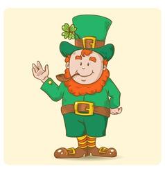 Cute Saint Patricks Leprechaun in top-hat vector image