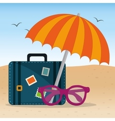 Summer beach umbrella suitcase and glasses design vector