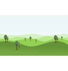Flat of rolling hill landscape vector