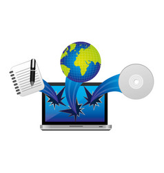 computer with technological icons outside vector image
