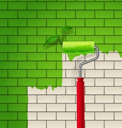Brick wall which is painted in green color by roll vector