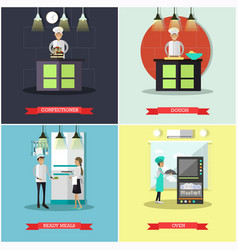 Set of cook posters banners in flat style vector