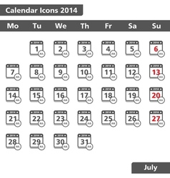July 2014 calendars icons vector