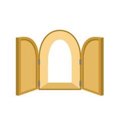 open doors isolated door to paradise unblock wood vector image