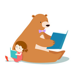Cute girl and fluffy bear are reading a book vector