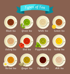 Types of tea set of ceramic cups with different vector