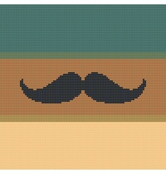 Hipster trend vintage knitted moustache on striped vector
