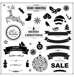 Set Of Vintage Black Christmas Symbols And Ribbons vector image