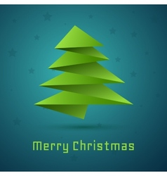Christmas tree on blue background with stars vector image