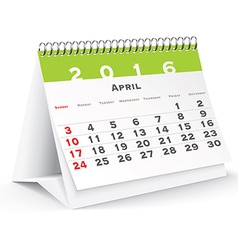 April 2016 desk calendar vector