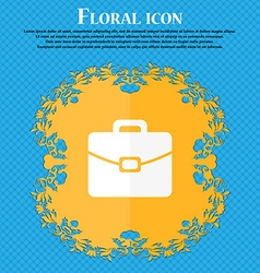 Suitcase icon floral flat design on a blue vector