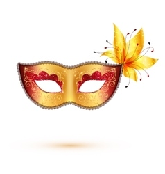 Golden carnival mask isolated on white background vector image