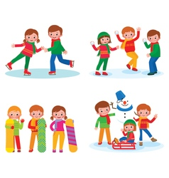 Set for children winter activities vector