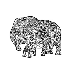 Relaxing coloring elephants vector