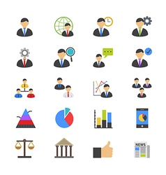 Management flat color icons vector