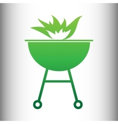 Barbecue with fire icon vector
