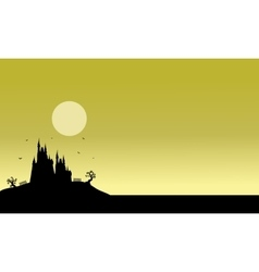 Silhouette of halloween castle scenery vector