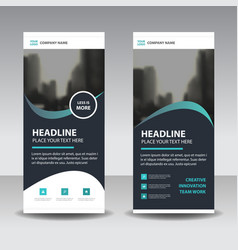 Black green curve style business roll up banner vector