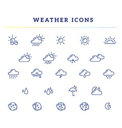 blue weather theme icon set on white back vector image vector image