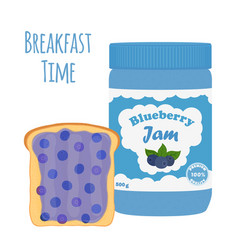 Blueberry jam in glass jar toast with jelly vector