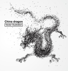 Chinese dragon composed of particles compos vector