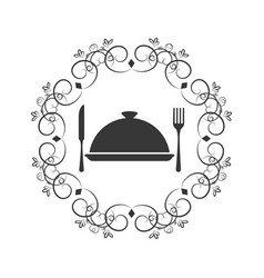 Crown of leaves with cloche food with cutlery vector