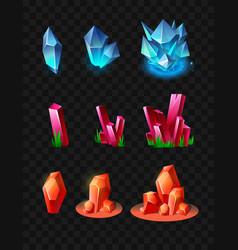 Crystals - realistic set of minerals vector
