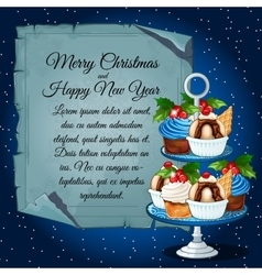 Cupcakes with holly berry and card for your text vector image vector image