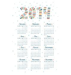 Cute doodle calendar 2014 vector image vector image