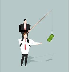Financial motivation Boss holding on hook dollar vector image
