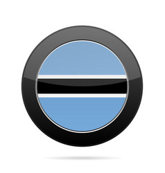flag of botswana shiny black round button vector image vector image