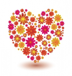 floral heart shape vector image vector image