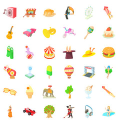 Fun park icons set cartoon style vector