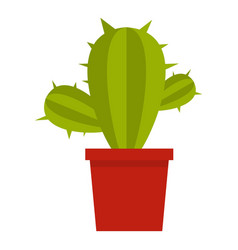 Green cactus in red pot icon isolated vector