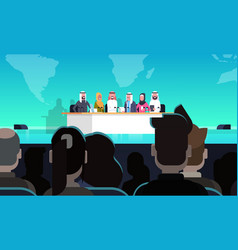 group of arab business people on conference public vector image vector image