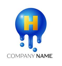 H letter splash logo blue dots and bubbles letter vector