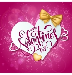 Happy valentines day lettering with paper vector