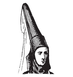 Horn head dress were worn at that time vintage vector