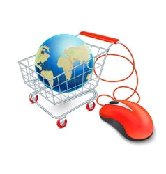 Internet shopping cart concept vector