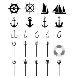 nautical icons isolated vector image vector image