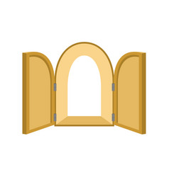 Open doors isolated door to paradise unblock wood vector