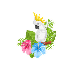 Parrot white cockatoo with colorful exotic flowers vector
