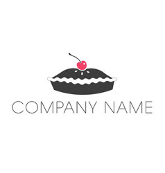 Pie logo with cherry icon and company name vector
