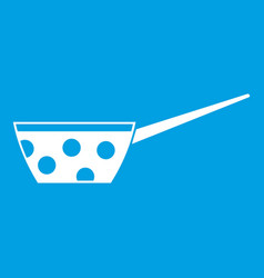 Pot with white dots and handle icon white vector
