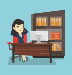 Satisfied business woman relaxing in office vector
