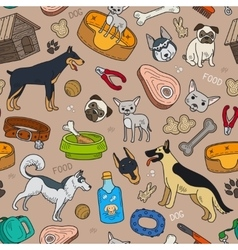 Seamless pattern with cute dog vector image vector image